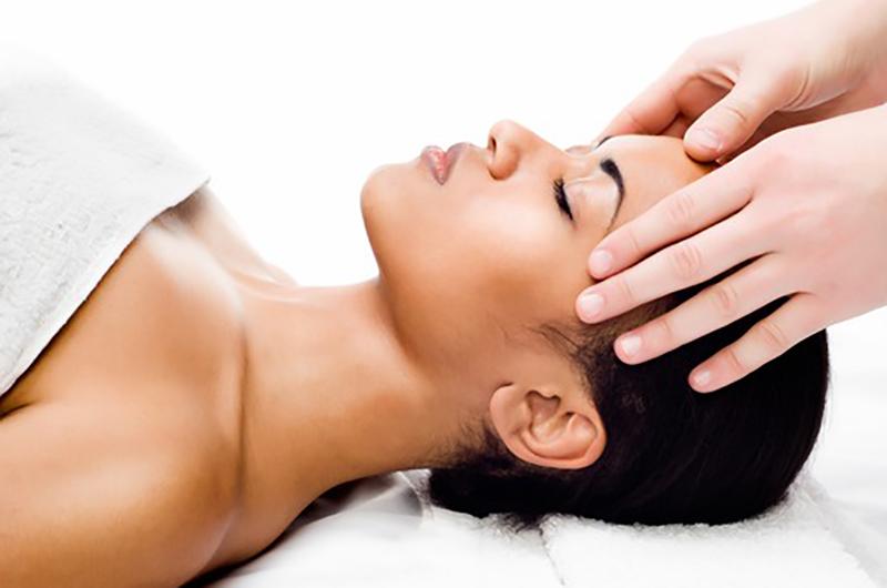 Facial massage in a spa salon
